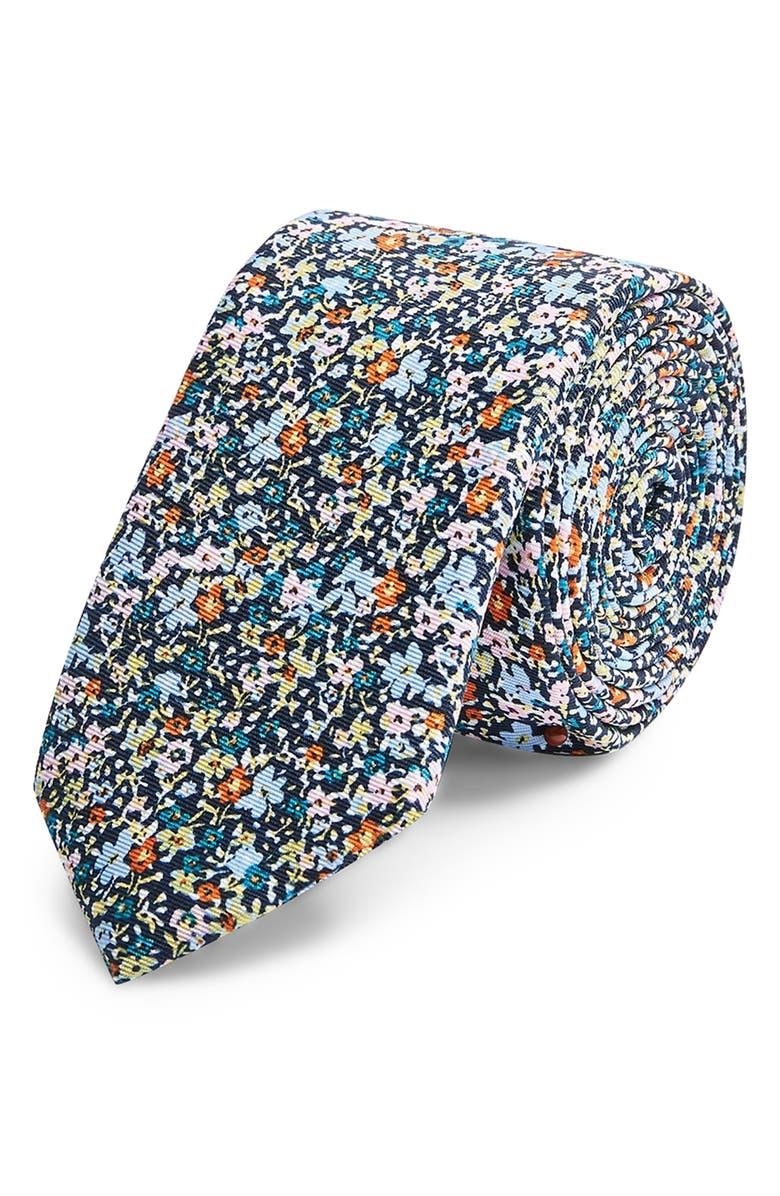 TOPMAN Ditsy Floral Tie, Main, color, 400