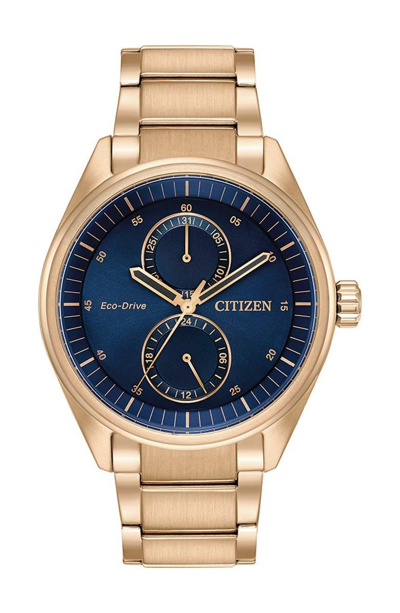 CITIZEN Men's Paradex Blue Dial Rose Watch, 43mm, Main, color, GOLD