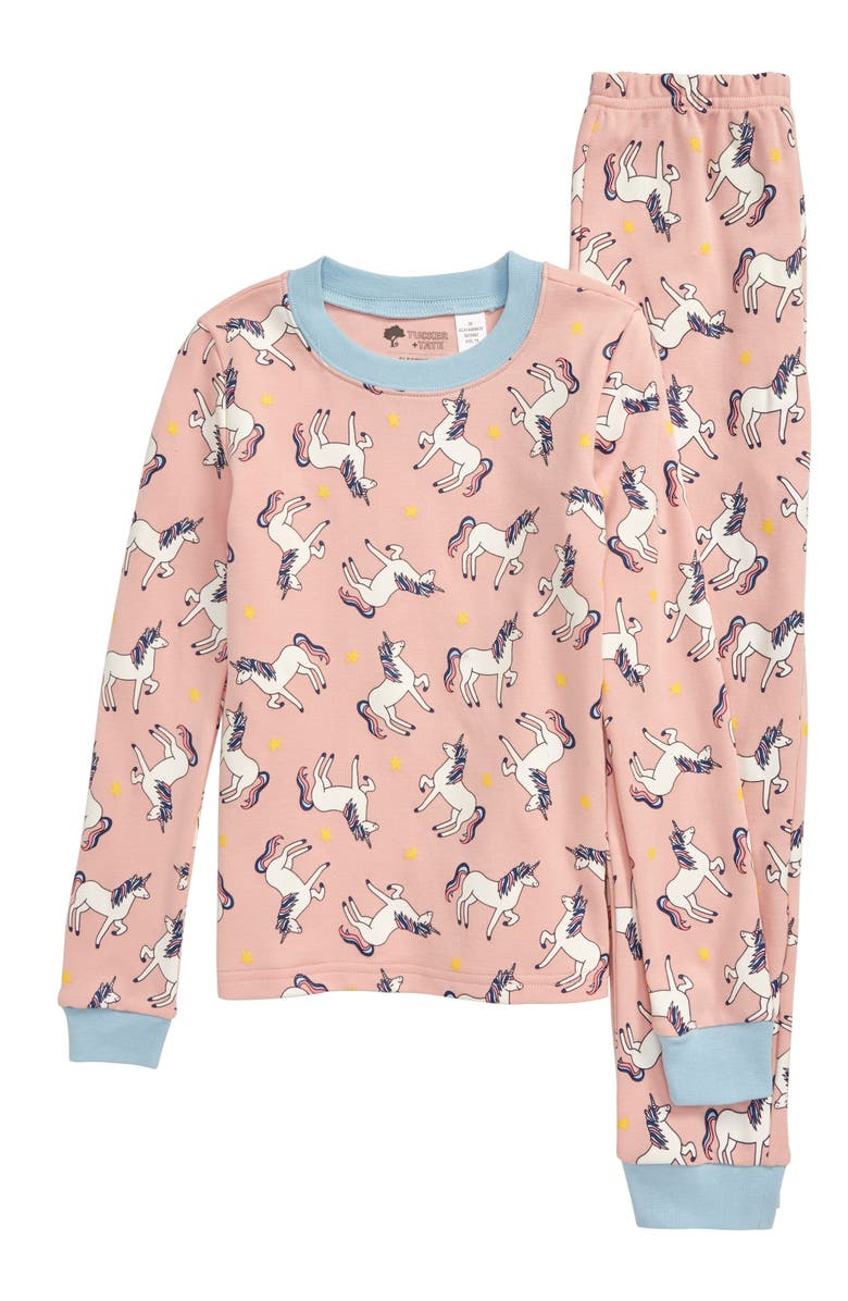 TUCKER + TATE Glow in the Dark Fitted Two-Piece Pajamas, Main, color, PINK POWDER UNICORNS