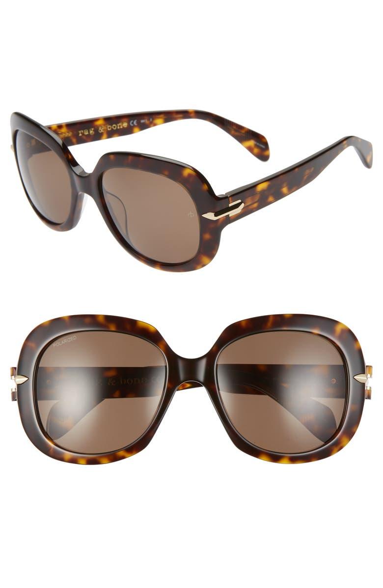 RAG & BONE 55mm Polarized Square Sunglasses, Main, color, DARK HAVANA/ BRONZE POLAR