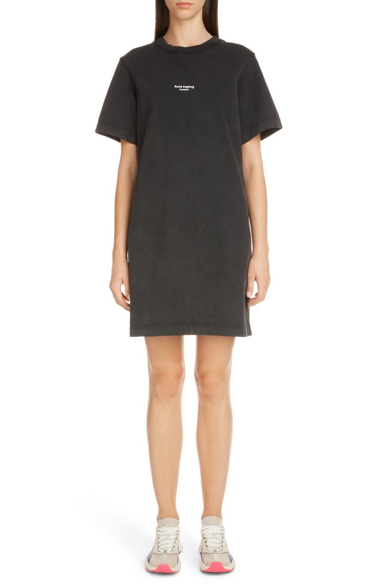 ACNE STUDIOS Elleni Stamp T-Shirt Dress, Main, color, BLACK