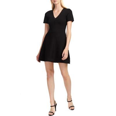 French Connection Ellie Knits V-Neck Fit & Flare Dress, Black