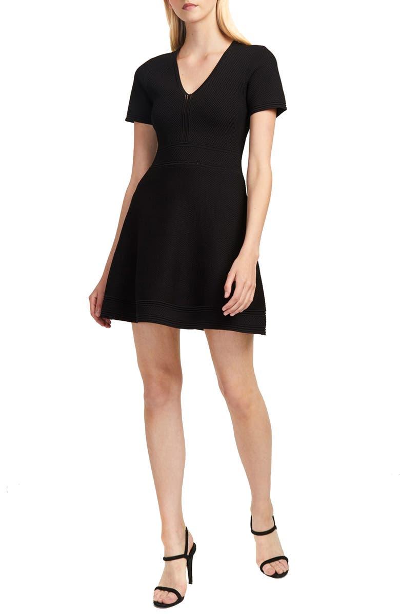 FRENCH CONNECTION Ellie Knits V-Neck Fit & Flare Dress, Main, color, BLACK