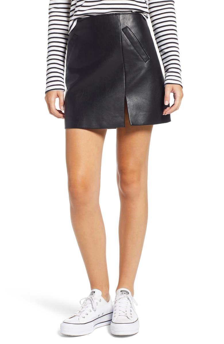 BLANKNYC Faux Leather Miniskirt, Main, color, 001