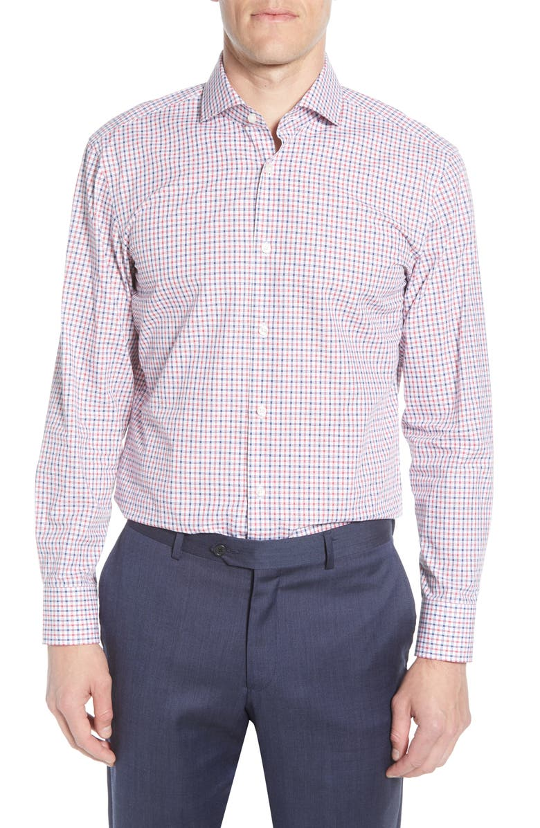 BOSS Sharp Fit Check Dress Shirt, Main, color, RED
