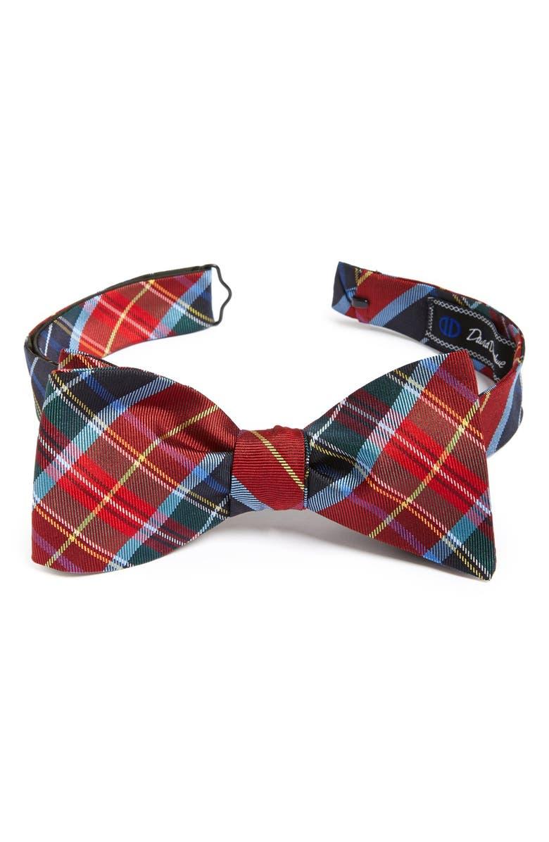 DAVID DONAHUE Plaid Silk Bow Tie, Main, color, 930