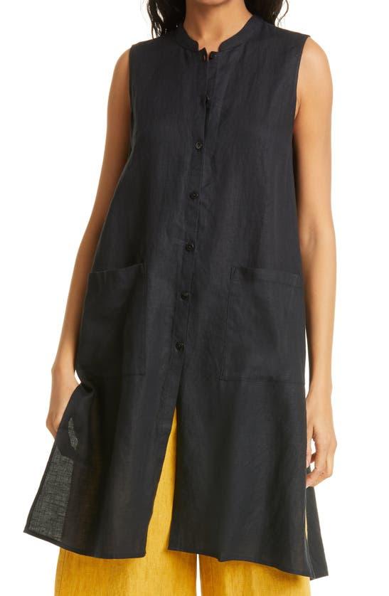 Eileen Fisher MANDARIN COLLAR SLEEVELESS ORGANIC LINEN TUNIC DRESS