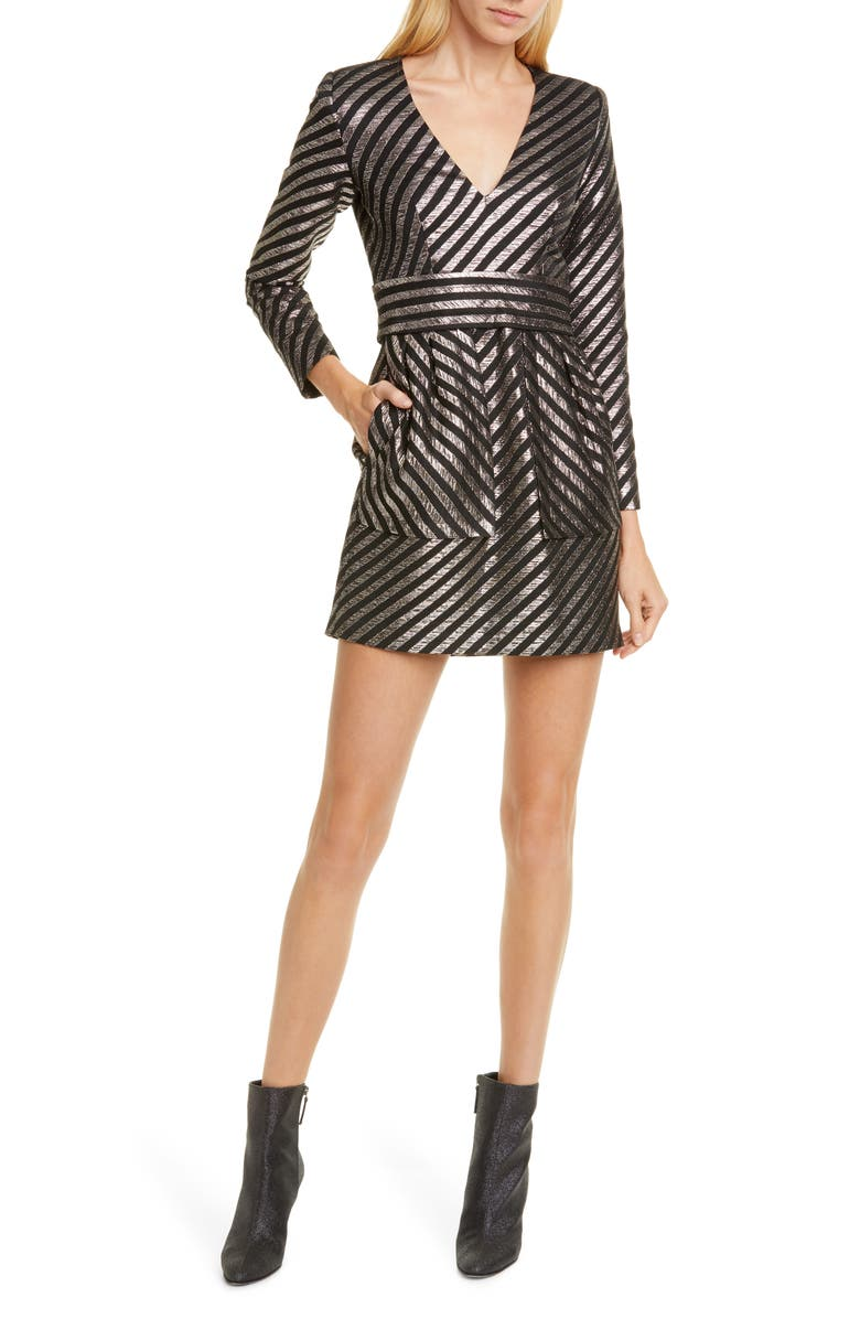 SMYTHE Metallic Stripe Minidress, Main, color, 020