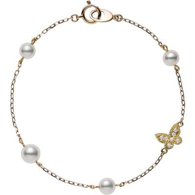 Mikimoto Diamond Butterfly & Pearl Charm Bracelet