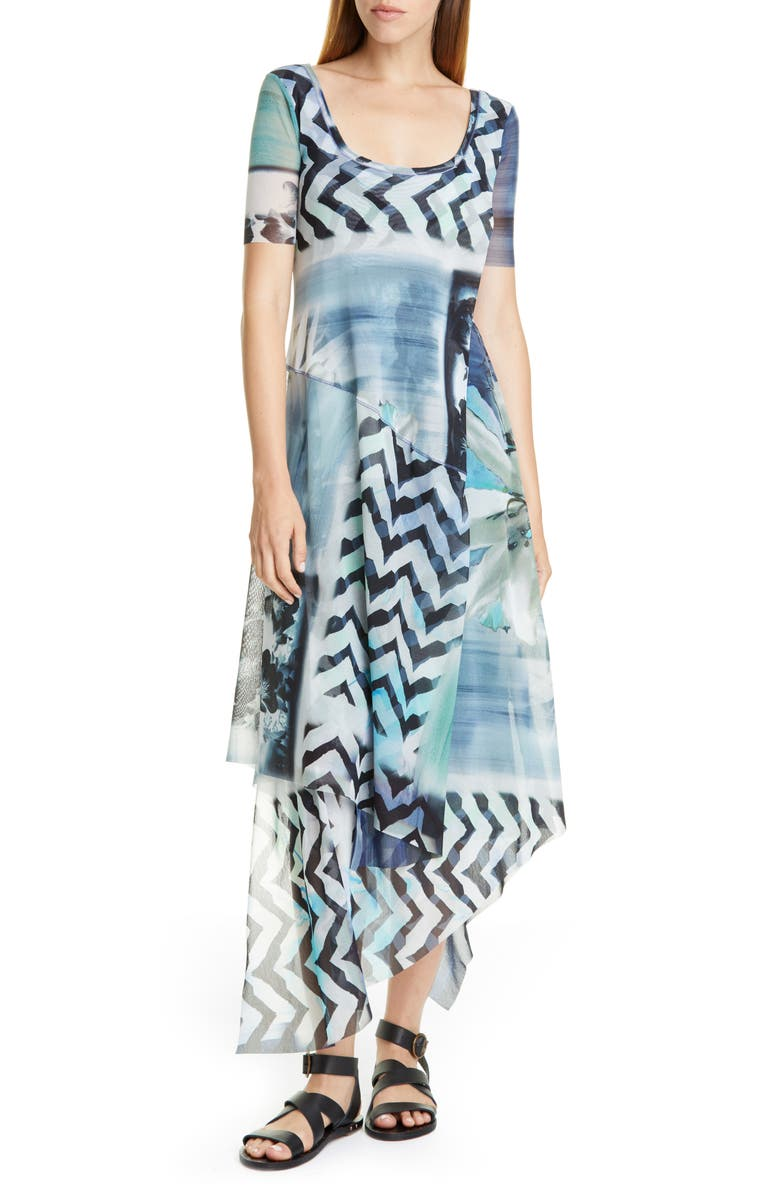 FUZZI Floral & Chevron Print Asymmetrical Maxi Dress, Main, color, BLUEBERRY