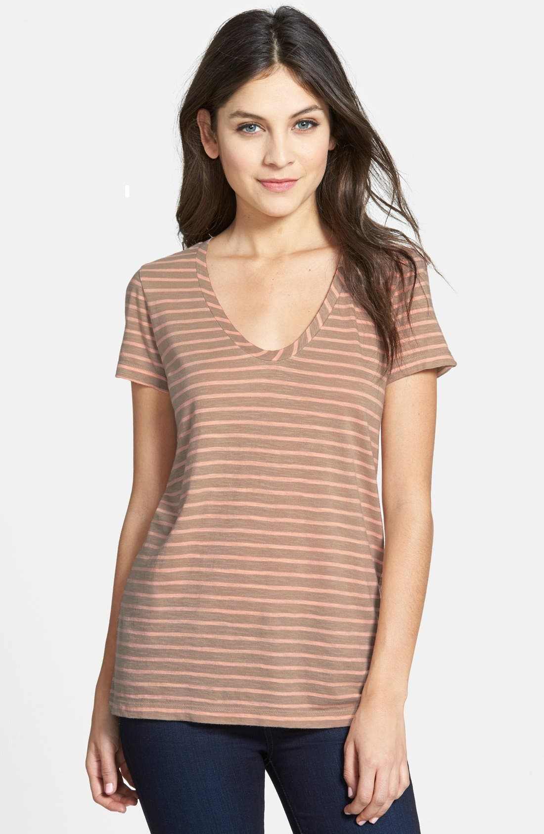 ,                             Relaxed Slub Knit U-Neck Tee,                             Main thumbnail 162, color,                             235