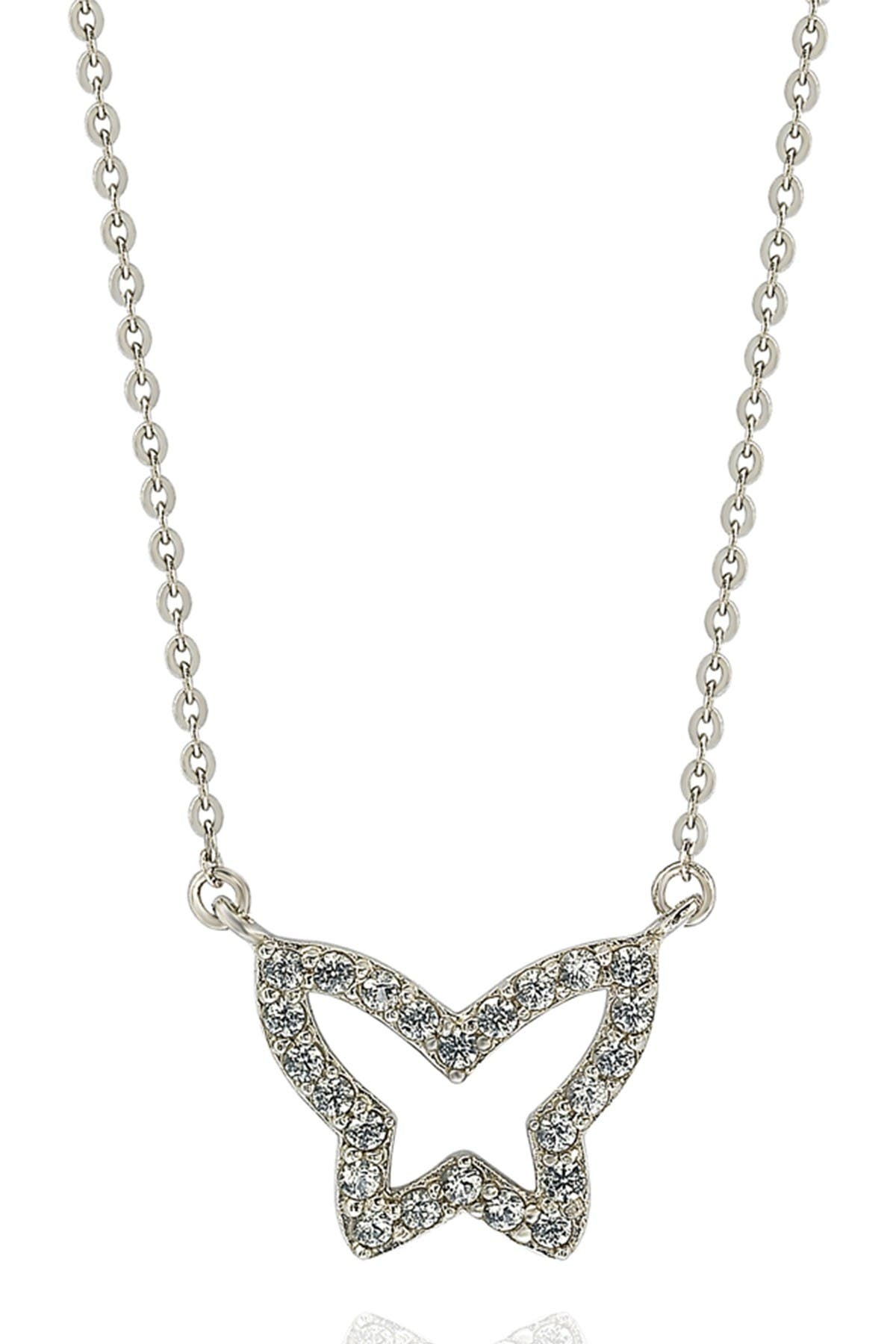 Image of Suzy Levian 14K White Gold Diamond Butterfly Necklace - 0.30ctw