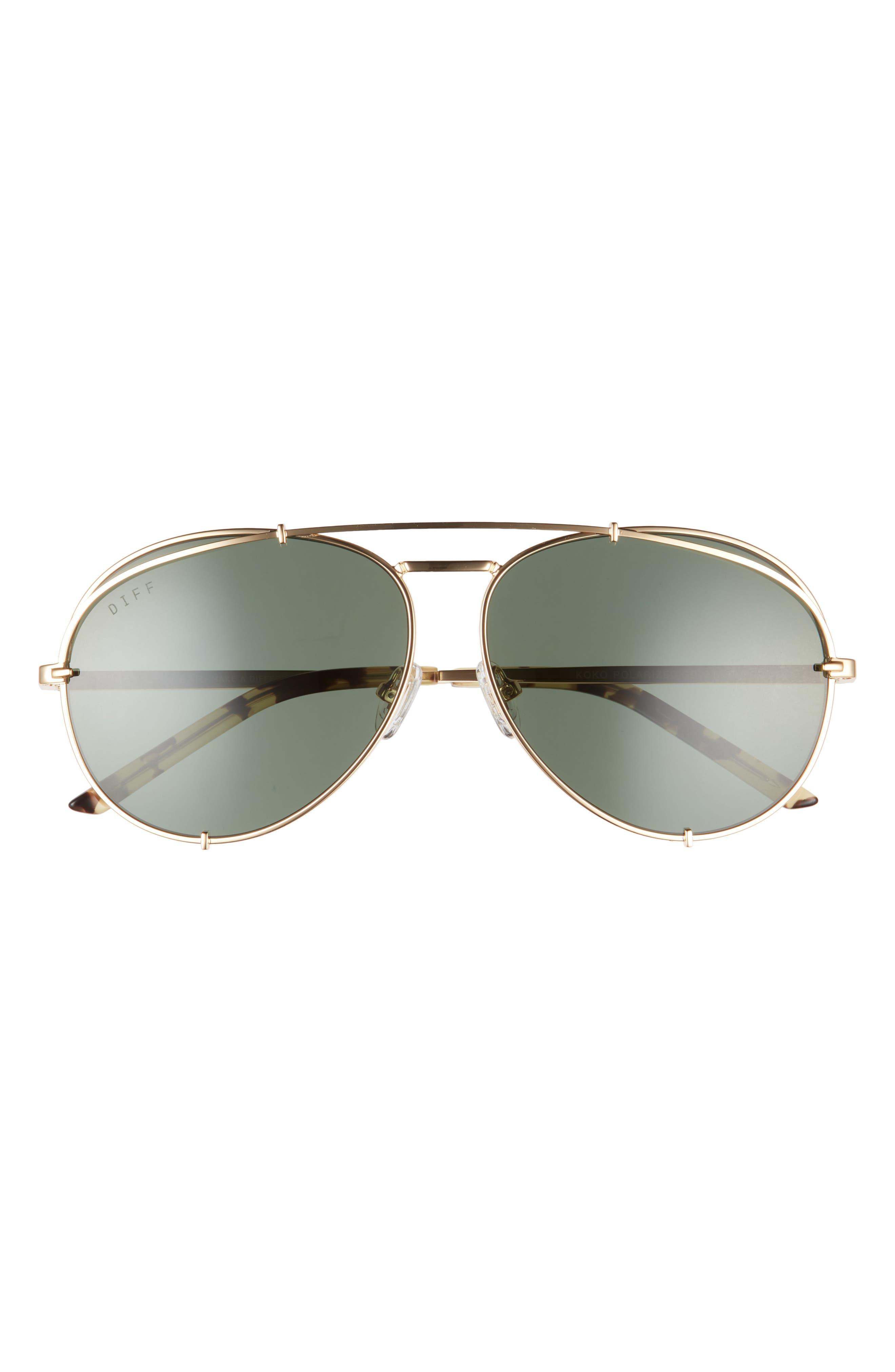 Koko 63mm Oversize Polarized Aviator Sunglasses