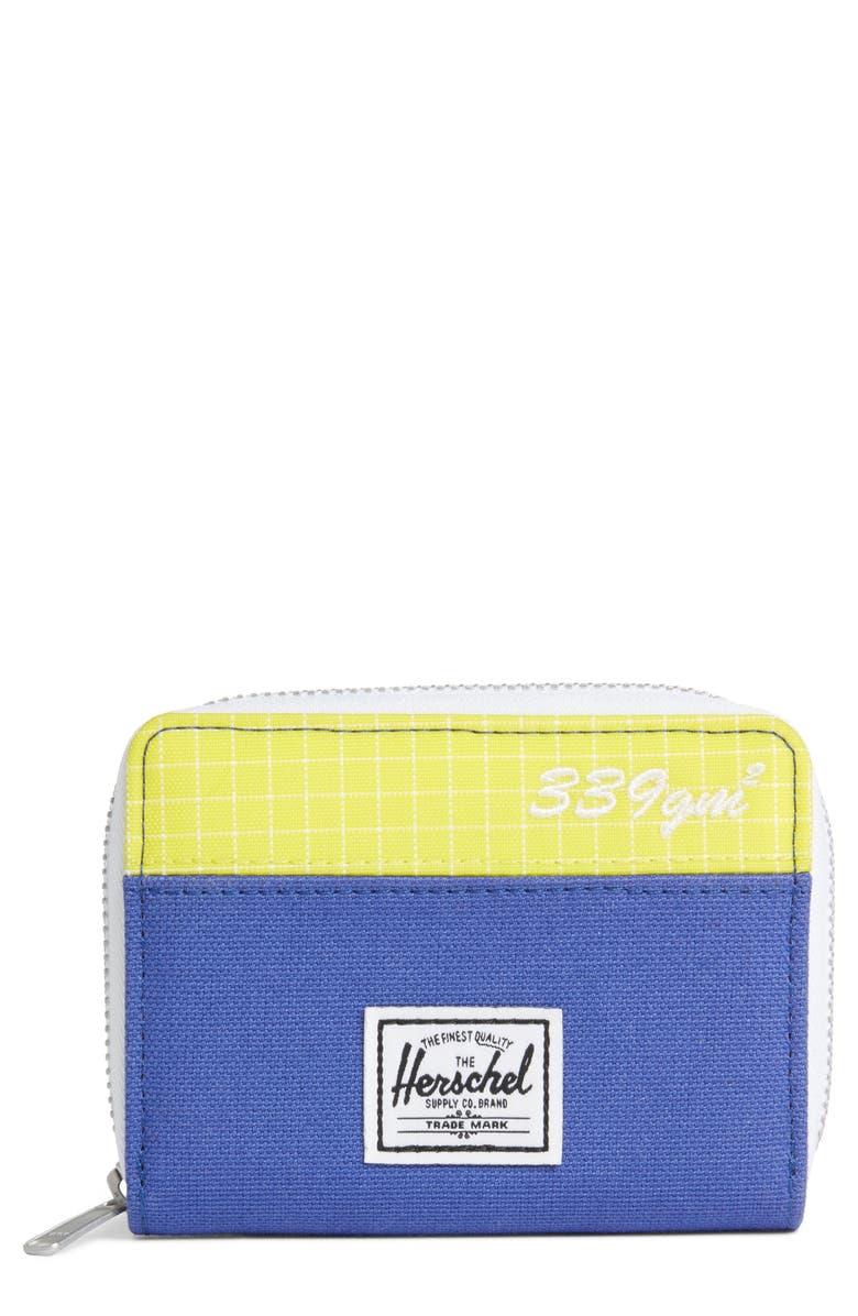 HERSCHEL SUPPLY CO. Tyler Zip Wallet, Main, color, ROYAL BLUE/ SULPHUR SPRING