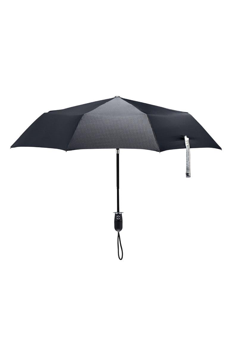 SHEDRAIN Stratus Auto Open Stick Umbrella, Main, color, BLACK/ BLACK MATTE