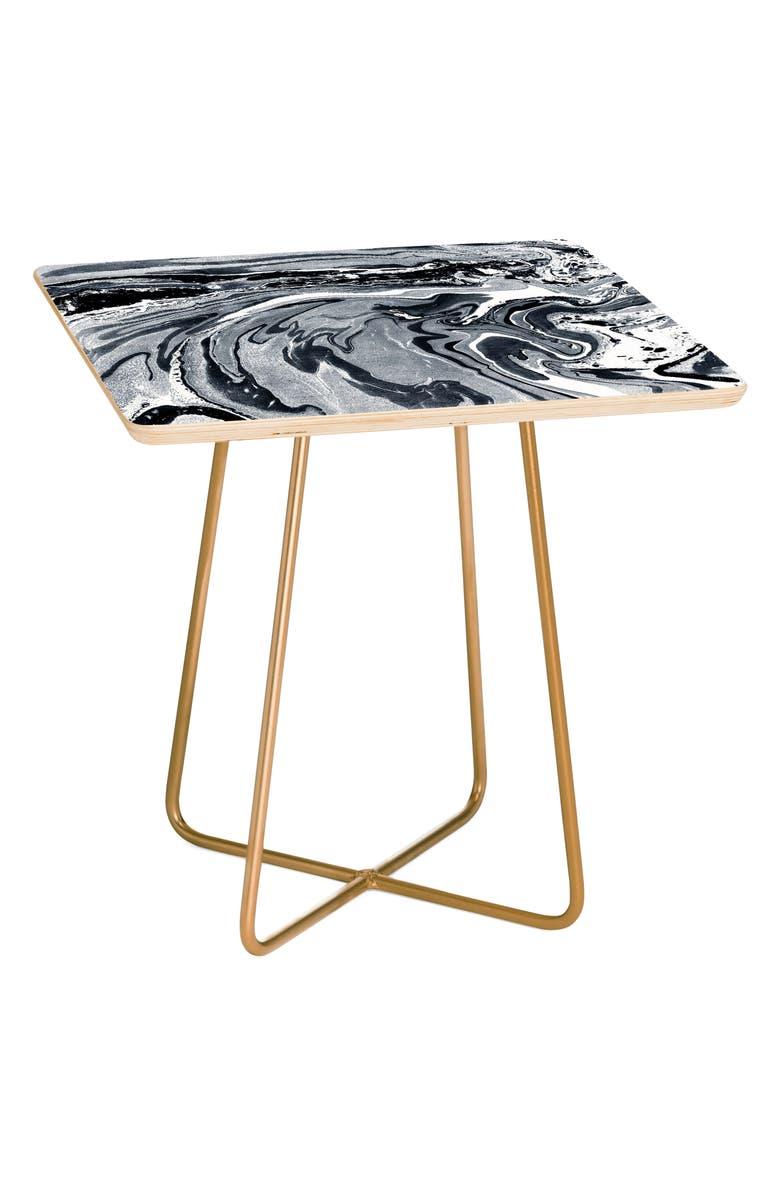 DENY DESIGNS Marble Monochrome Side Table, Main, color, MONOCHROME BLACK