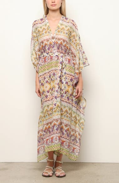 Geo Print Cotton & Silk Caftan Dress, video thumbnail