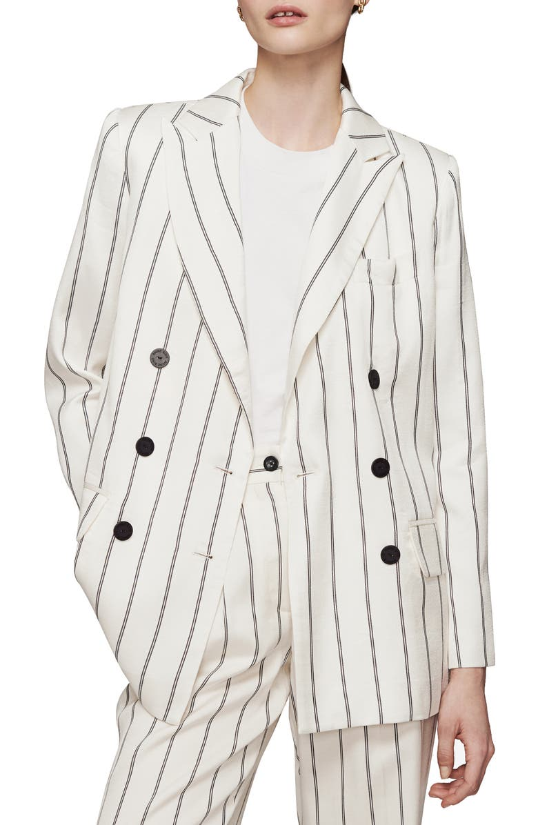 ANINE BING Ryan Stripe Double Breasted Blazer, Main, color, 100