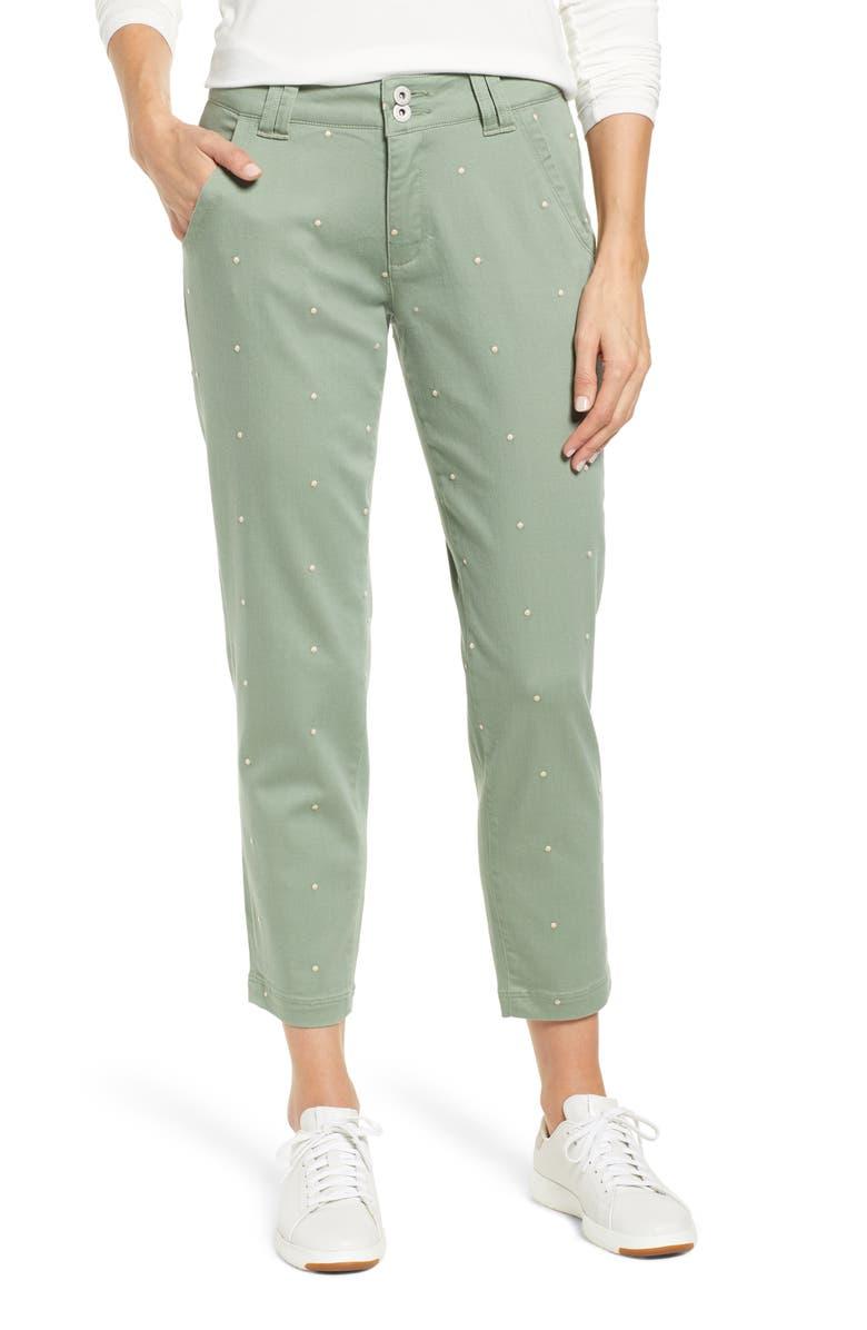 JAG JEANS Flora Polka Dot Crop Pants, Main, color, 347