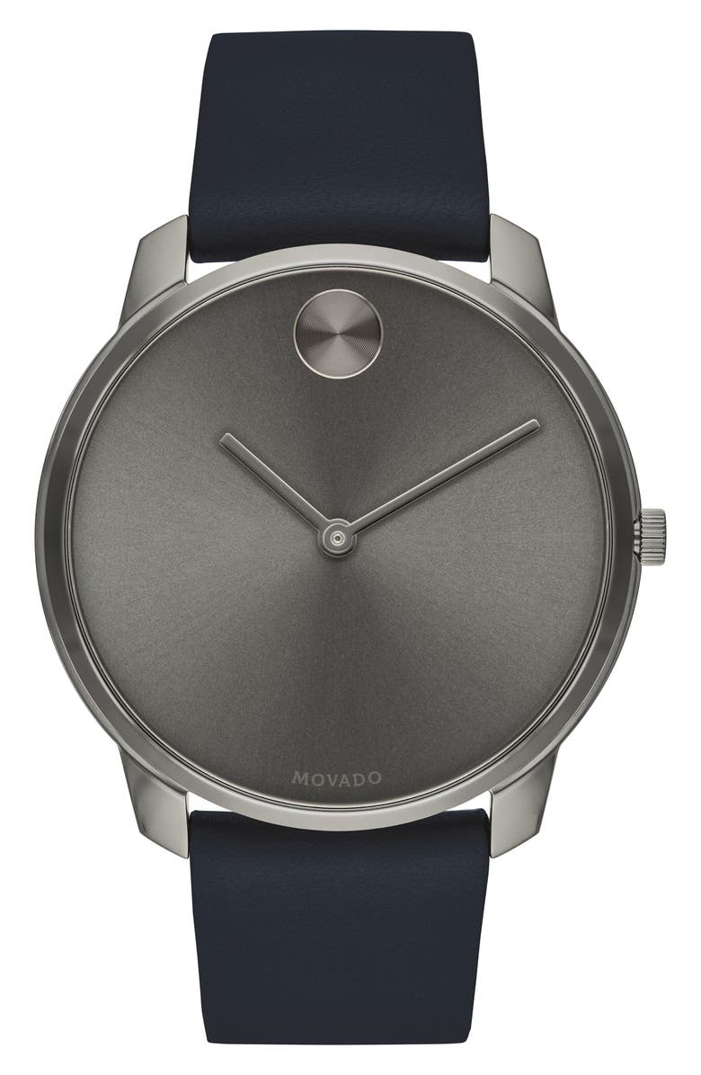 MOVADO Bold Leather Strap Watch, 42mm, Main, color, BLUE/ GREY