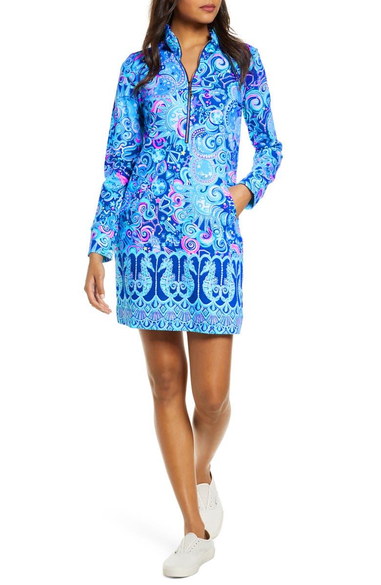 LILLY PULITZER<SUP>®</SUP> Skipper Ruffle Neck Long Sleeve Print Shift Dress, Main, color, LAPIS LAZULI COSMIC KISMET
