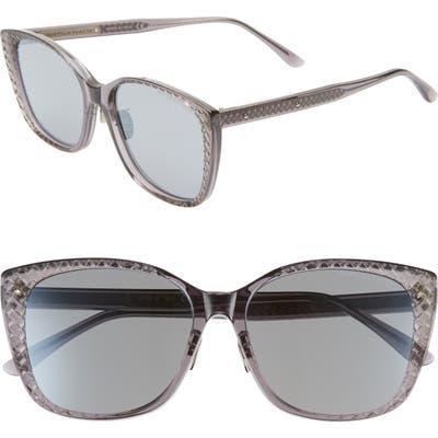 Bottega Veneta 5m Cat Eye Sunglasses - Grey/ Grey