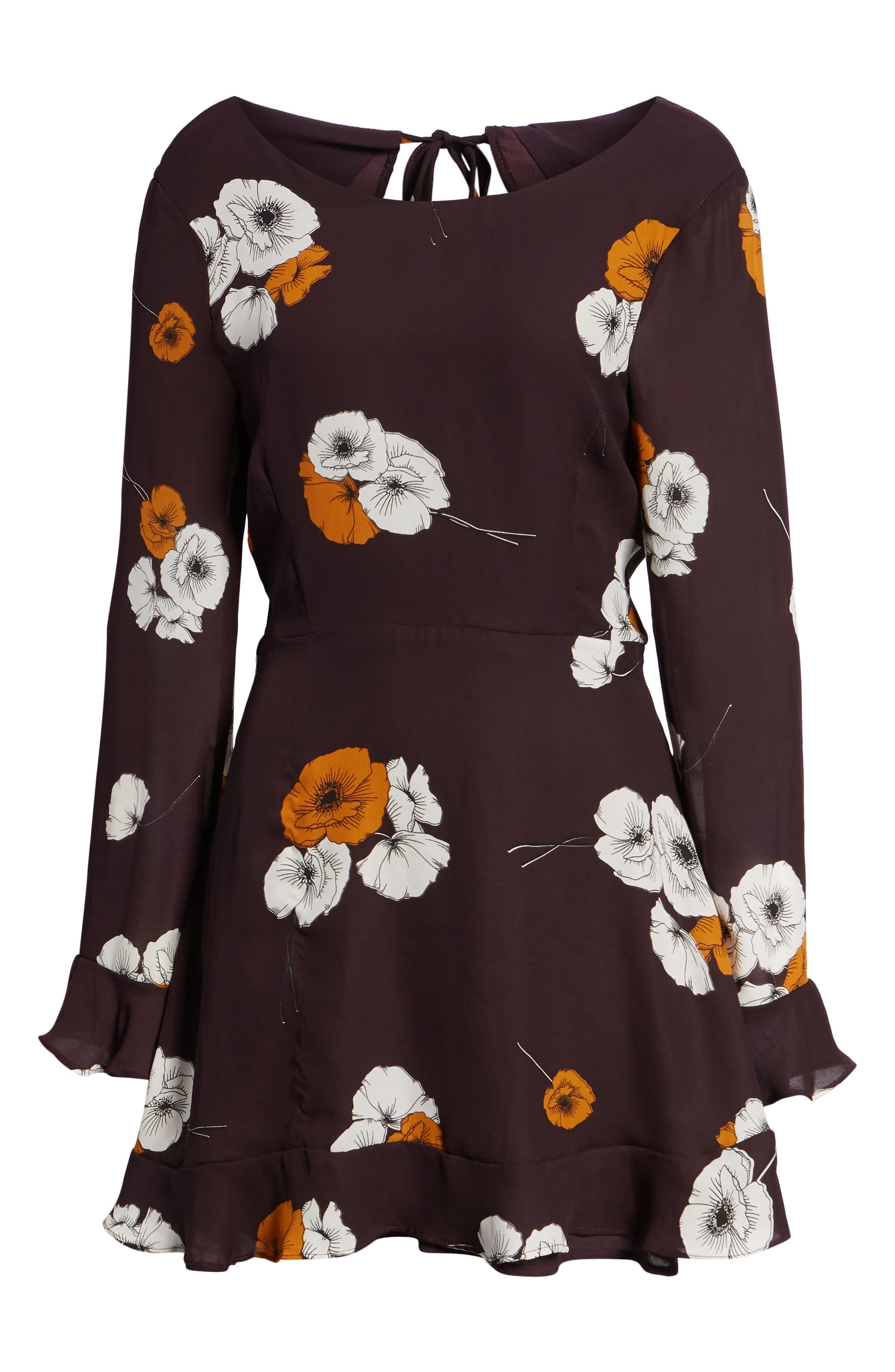 ,                             Leena Vintage Floral Dress,                             Alternate thumbnail 7, color,                             AUBERGINE