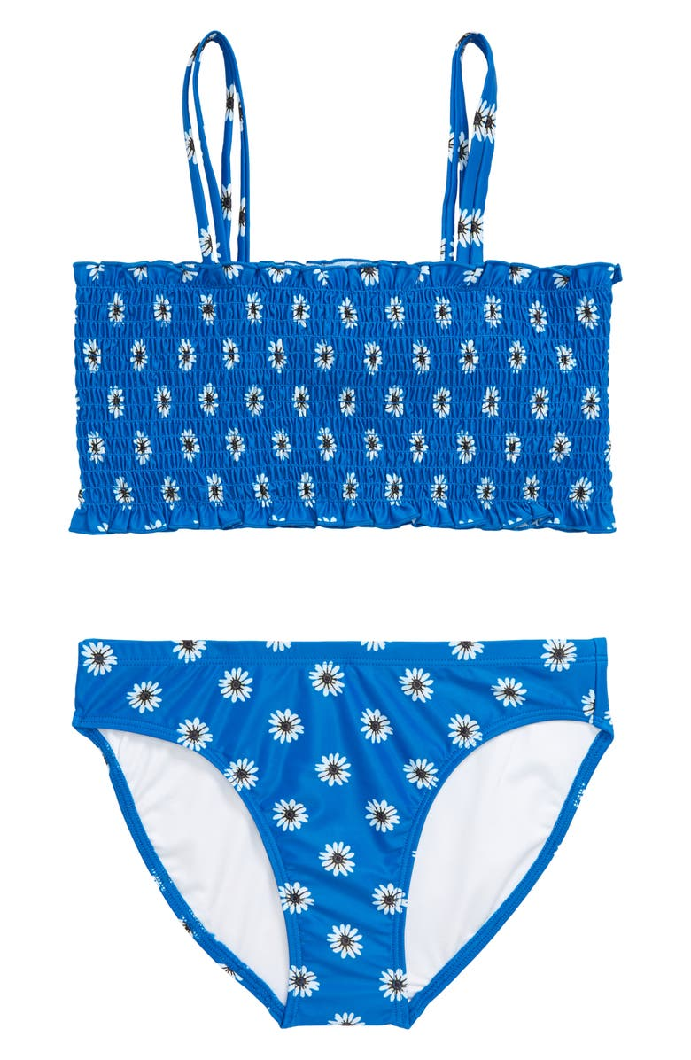TUCKER + TATE Smocked Two-Piece Swimsuit, Main, color, BLUE AZURE FAB DITSY