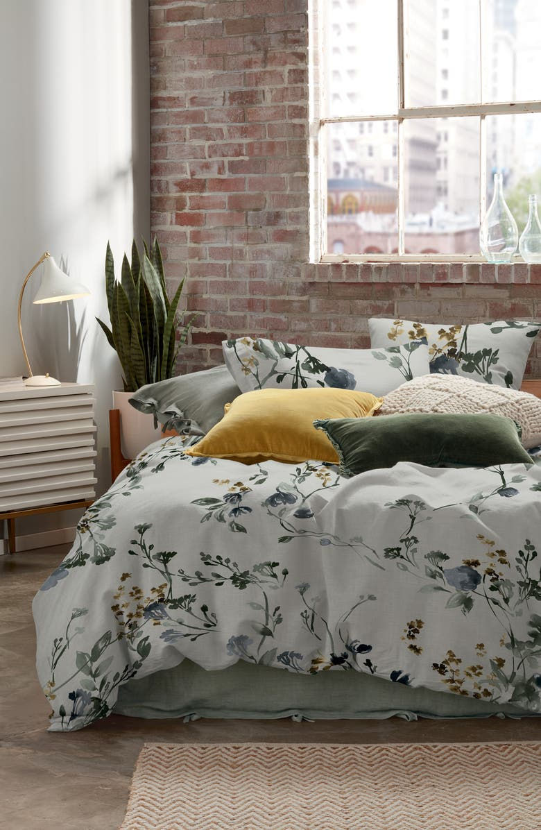 TREASURE & BOND Botanical Blur Duvet Cover, Main, color, GREY CHIME MULTI