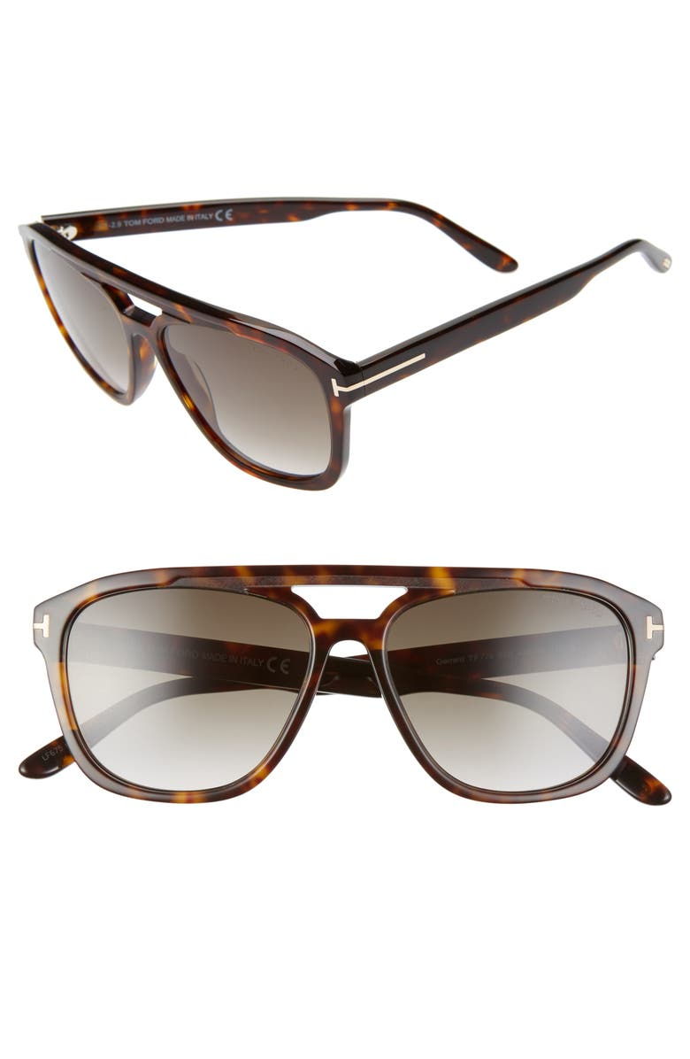TOM FORD Gerrard 56mm Aviator Sunglasses, Main, color, DARK HAVANA/ GRADIENT SMOKE