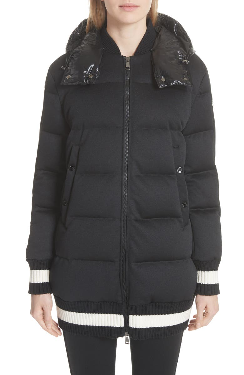 MONCLER Harfang Quilted Down Bomber Coat, Main, color, BLACK