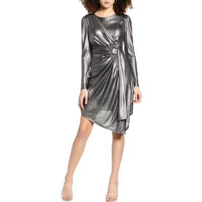 Leith Metallic Stripe Long Sleeve Asymmetrical Dress, Metallic