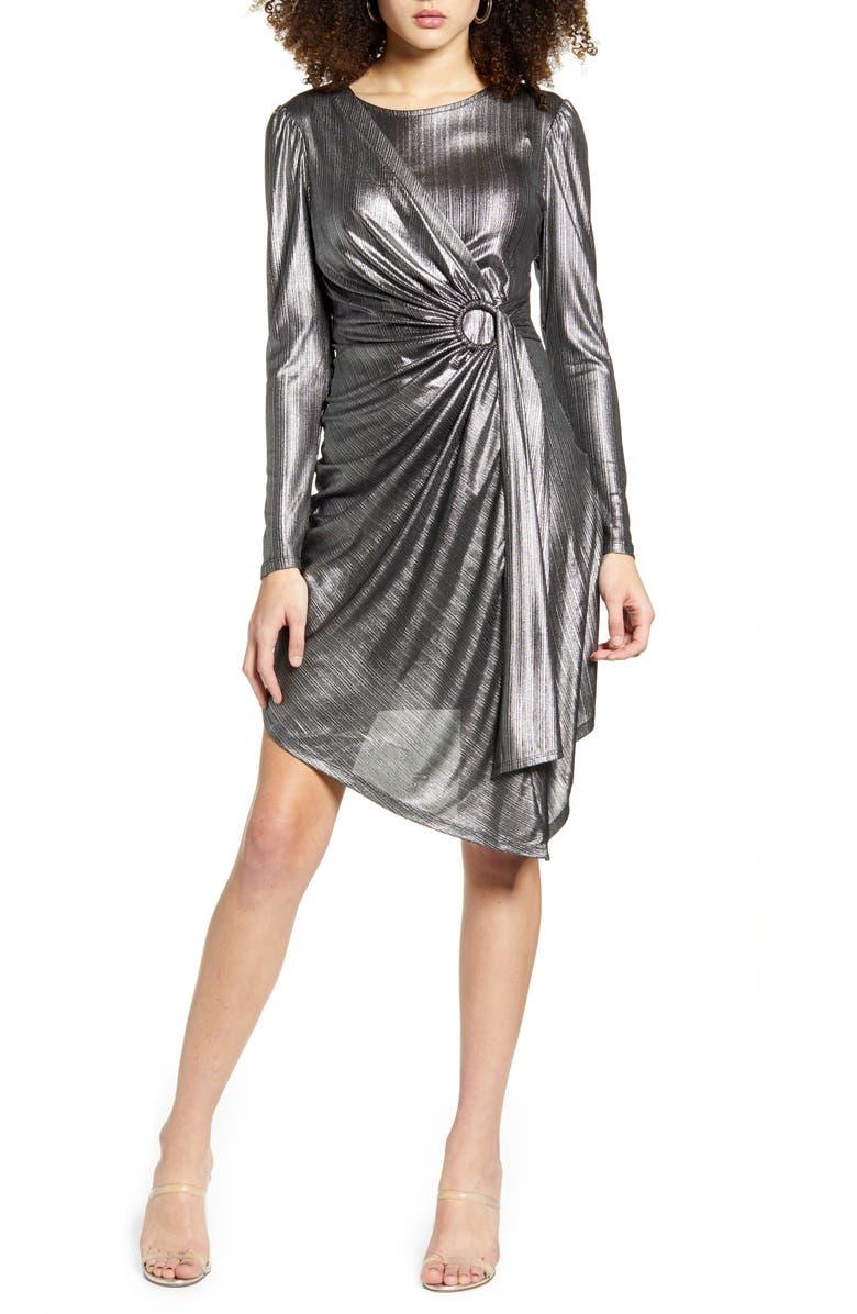 LEITH Metallic Stripe Long Sleeve Asymmetrical Dress, Main, color, METALLIC SILVER