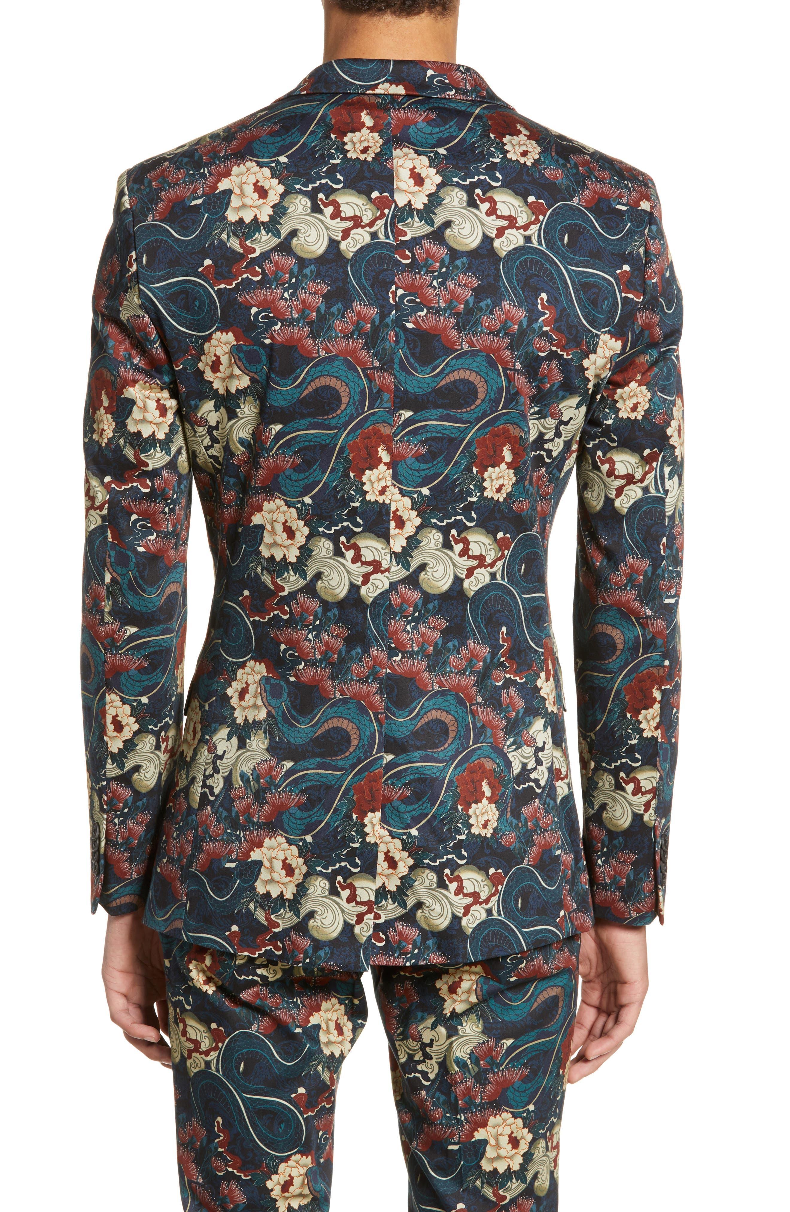 ,                             Skinny Fit Japan Print Suit Jacket,                             Alternate thumbnail 2, color,                             BLACK