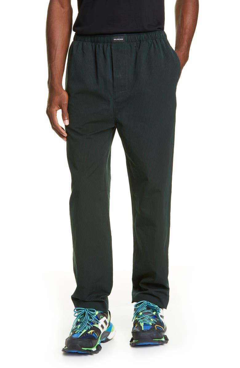 BALENCIAGA Stripe Cotton Pants, Main, color, BLACK/ CYPRESS GREEN