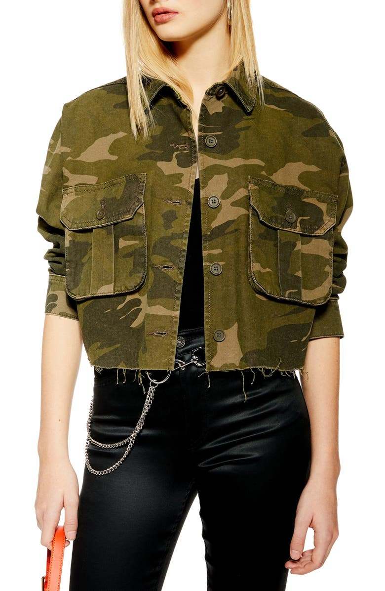TOPSHOP Frey Camouflage Jacket, Main, color, OLIVE MULTI