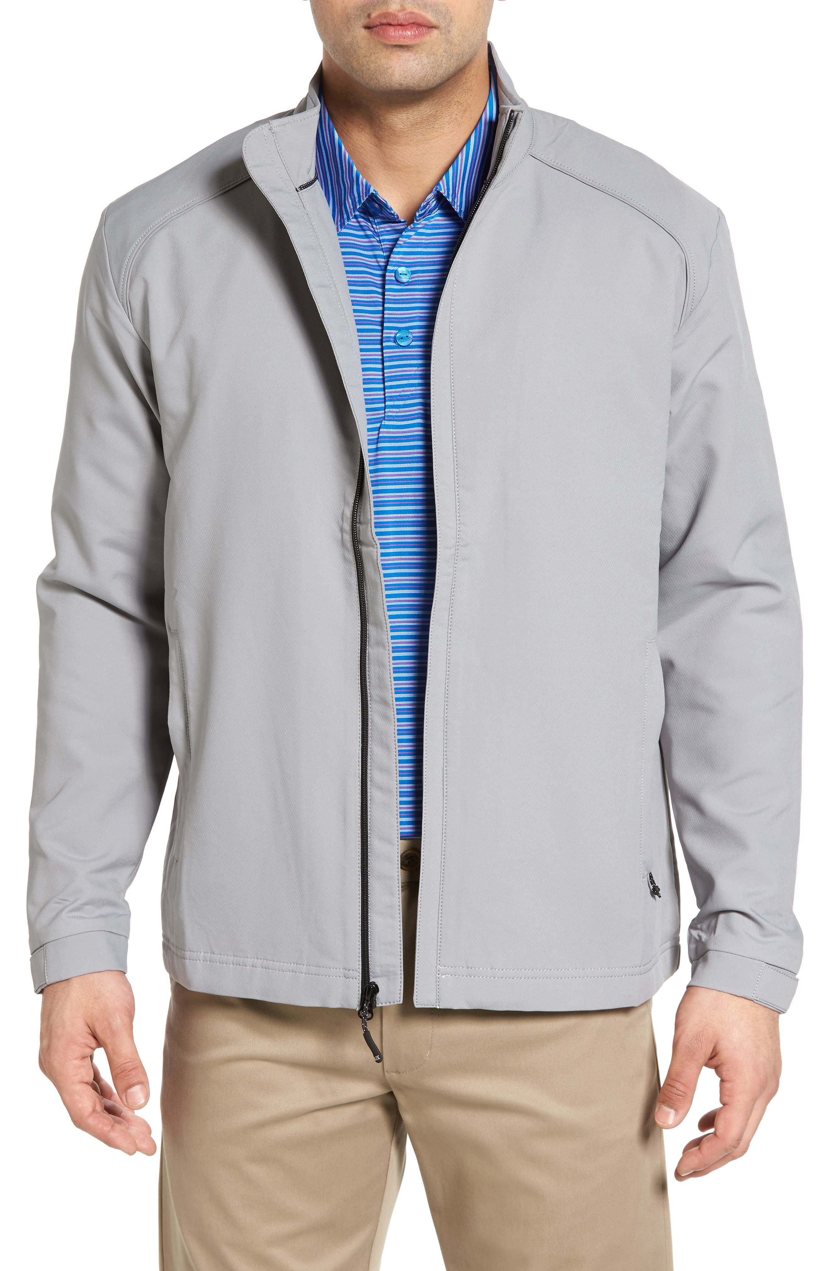 A breathable, fully-lined mock-neck jacket is crafted from lightweight WeatherTec fabric that features a versatile, wind- and water-resistant finish. Hook-and-loop cuffs seal out the chill, while zip pockets offer safe storage for your keys, phone or wallet. Style Name: Cutter & Buck \\\'Blakely\\\' Weathertec Wind & Water Resistant Full Zip Jacket. Style Number: 876406. Available in stores.
