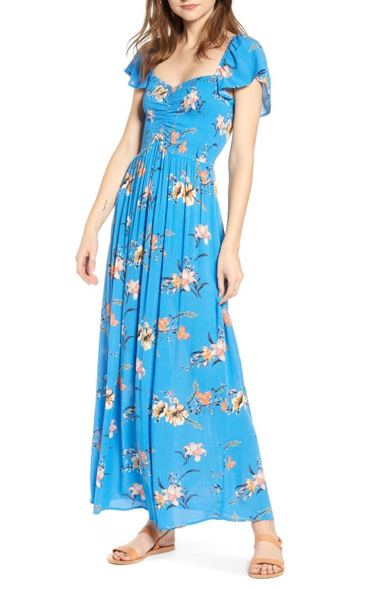 BP. Floral Smocked Bodice Maxi Dress, Main, color, 420