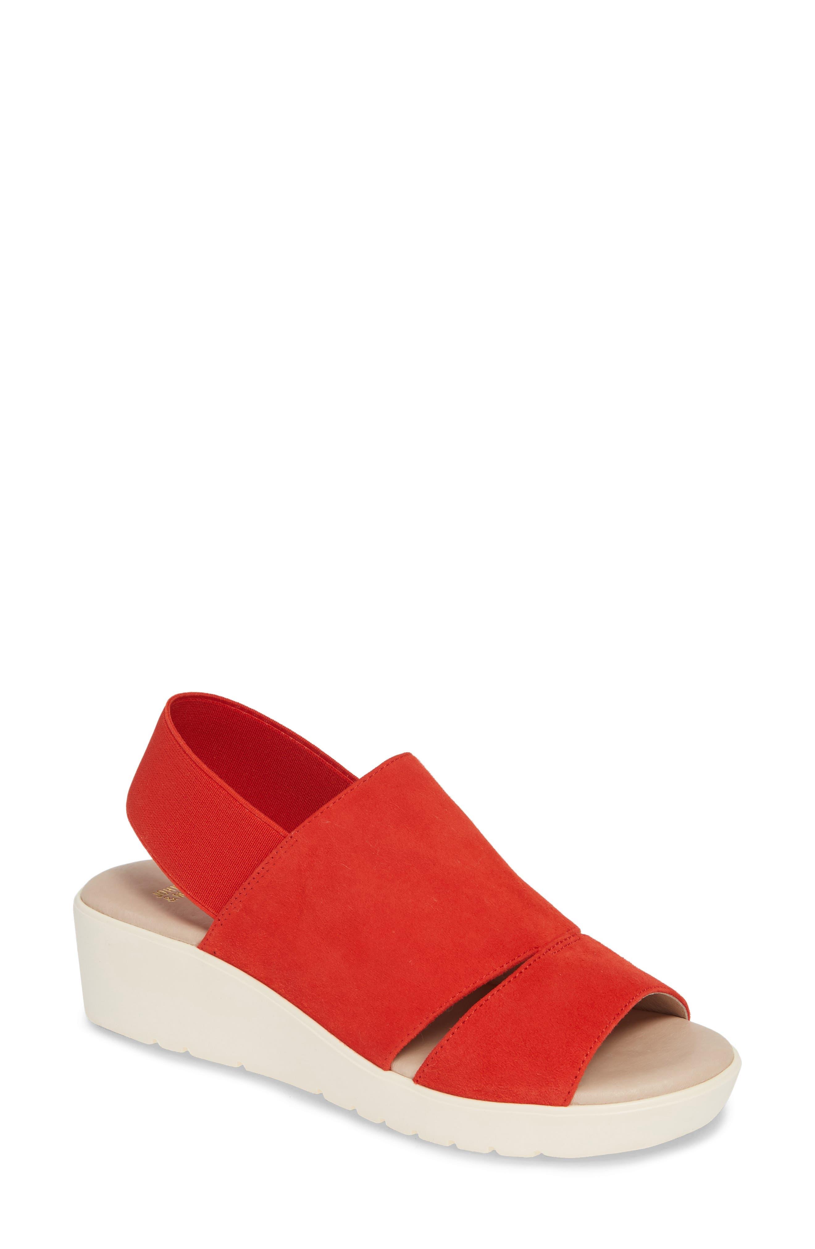 Johnston & Murphy Cassandra Slingback Platform Sandal, Red