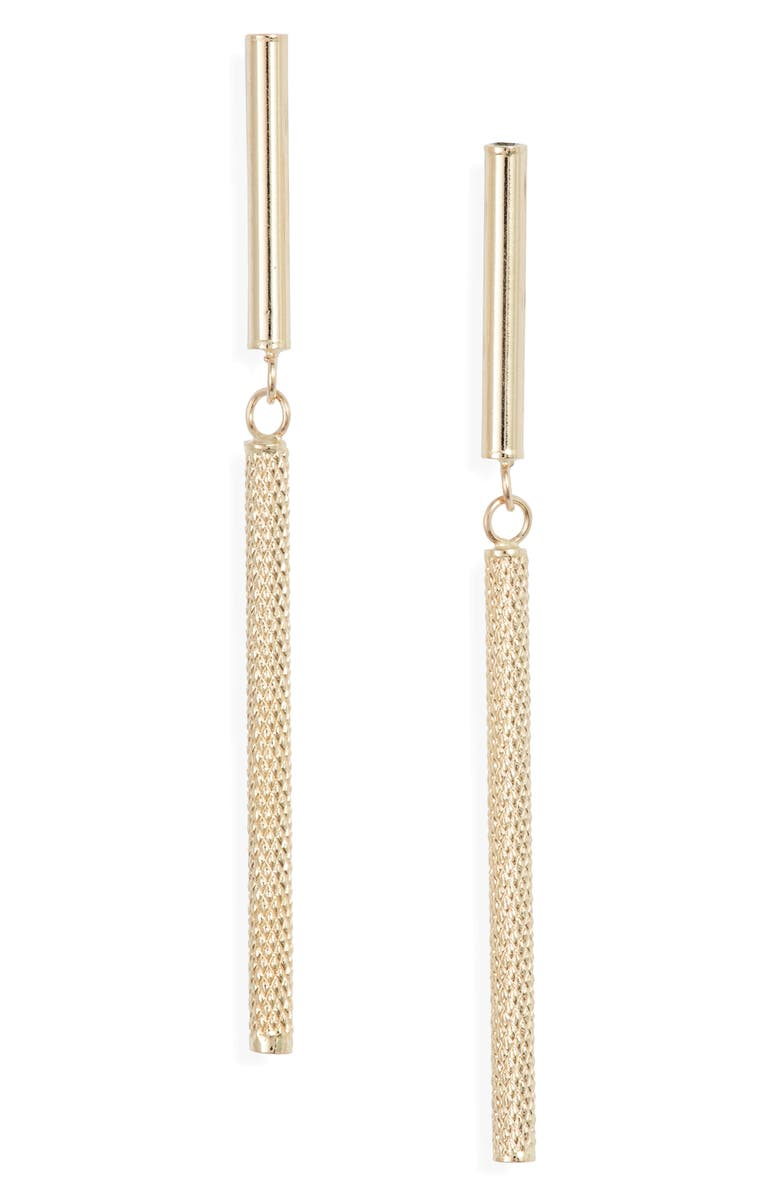BONY LEVY 14K Gold Cylinder Linear Earrings, Main, color, YELLOW GOLD