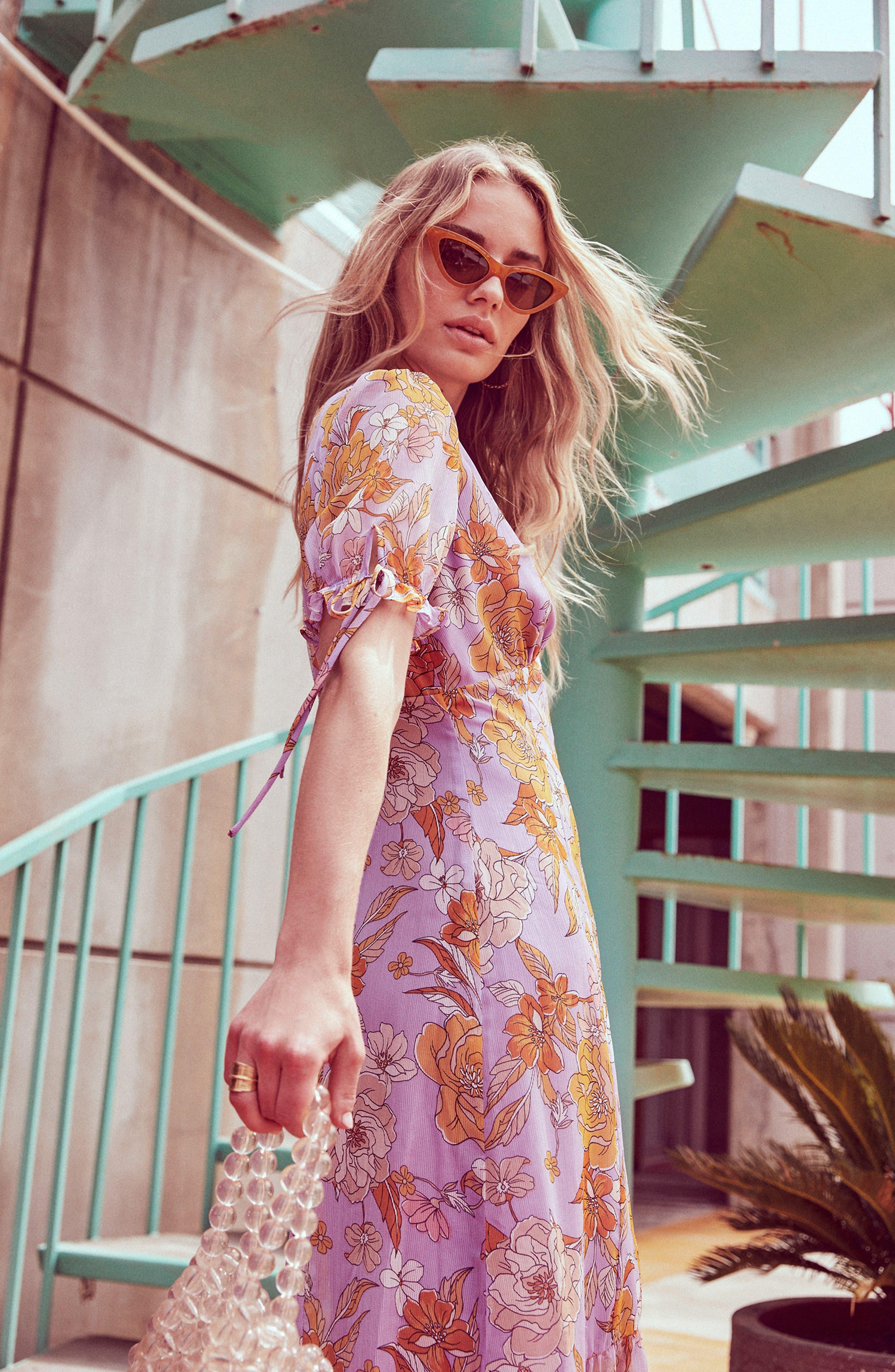 ,                             Chandler Floral Dress,                             Alternate thumbnail 6, color,                             ELECTRICAL LILAC FLORAL