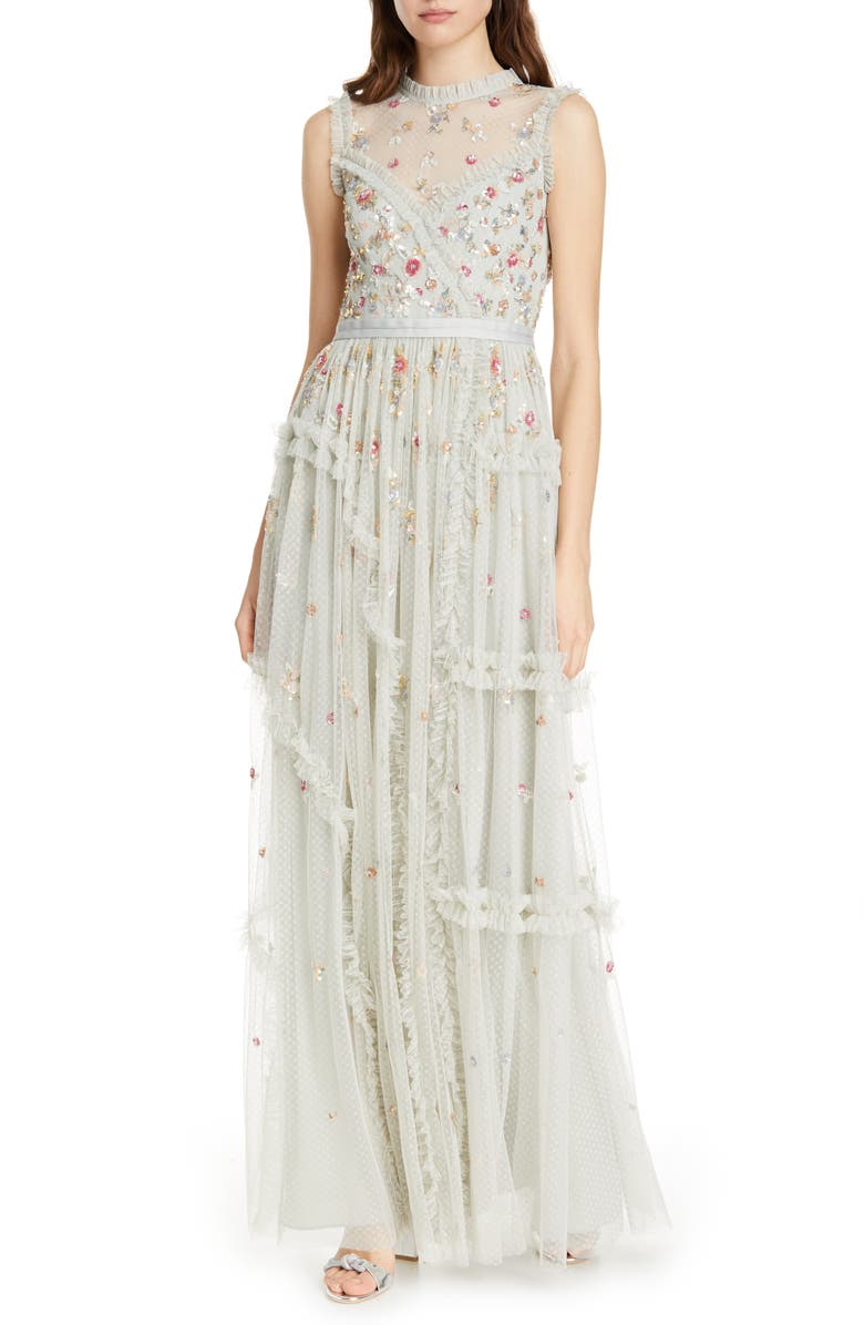 NEEDLE & THREAD Shimmer Floral Evening Dress, Main, color, 330