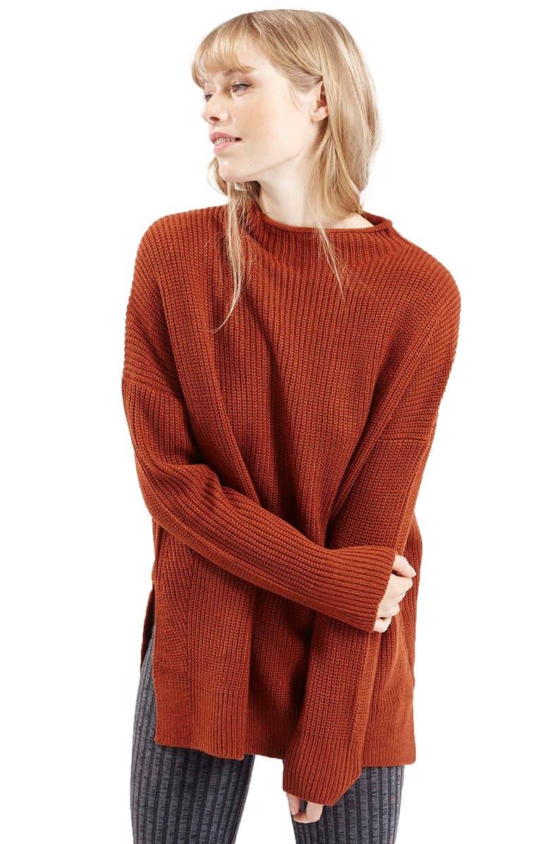 TOPSHOP Funnel Side Split Sweater, Main, color, 220