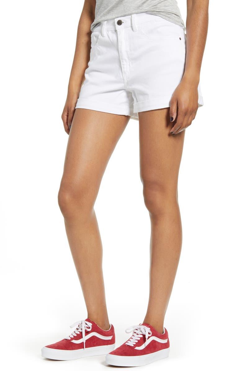 SP BLACK Roll Hem Denim Shorts, Main, color, WHITE