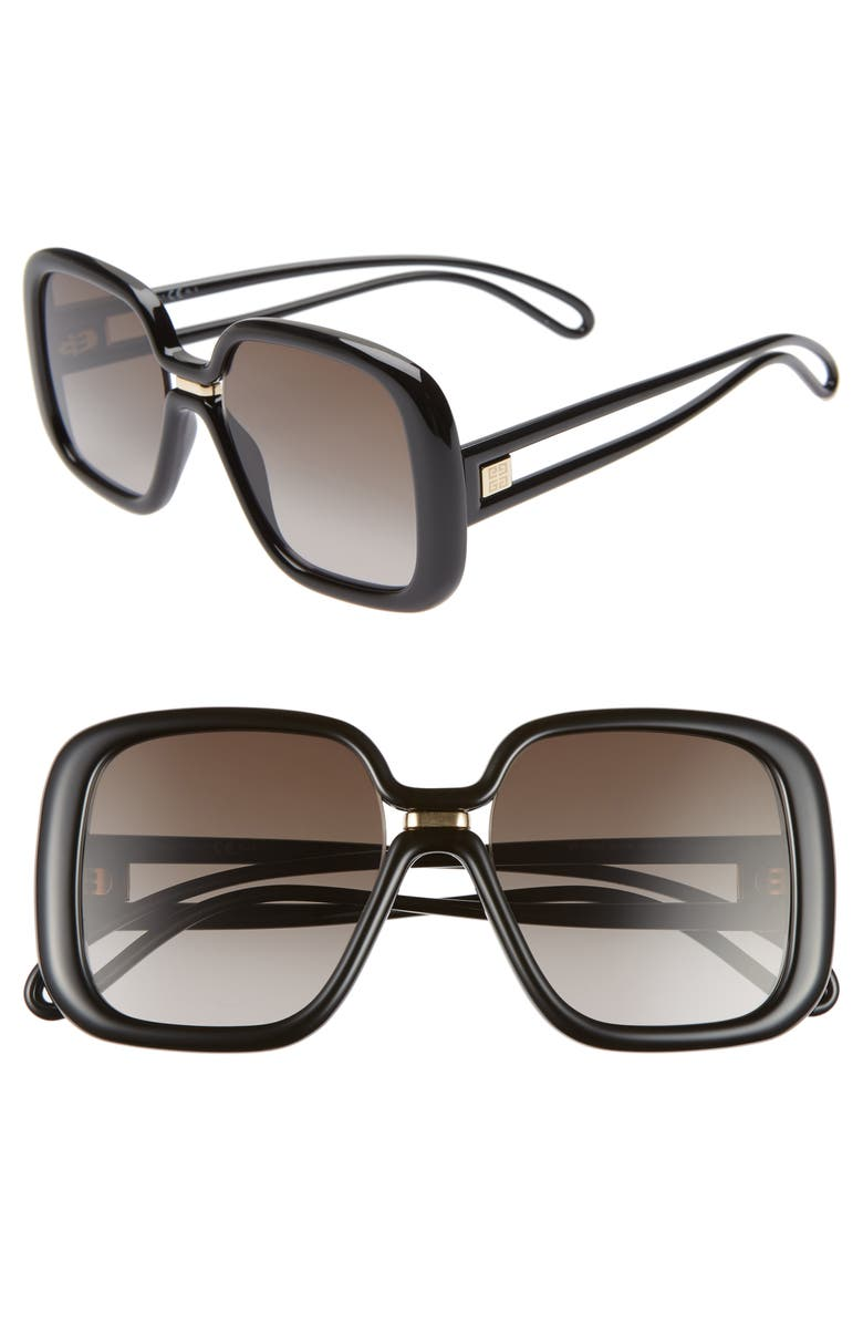 GIVENCHY 55mm Square Sunglasses, Main, color, 001