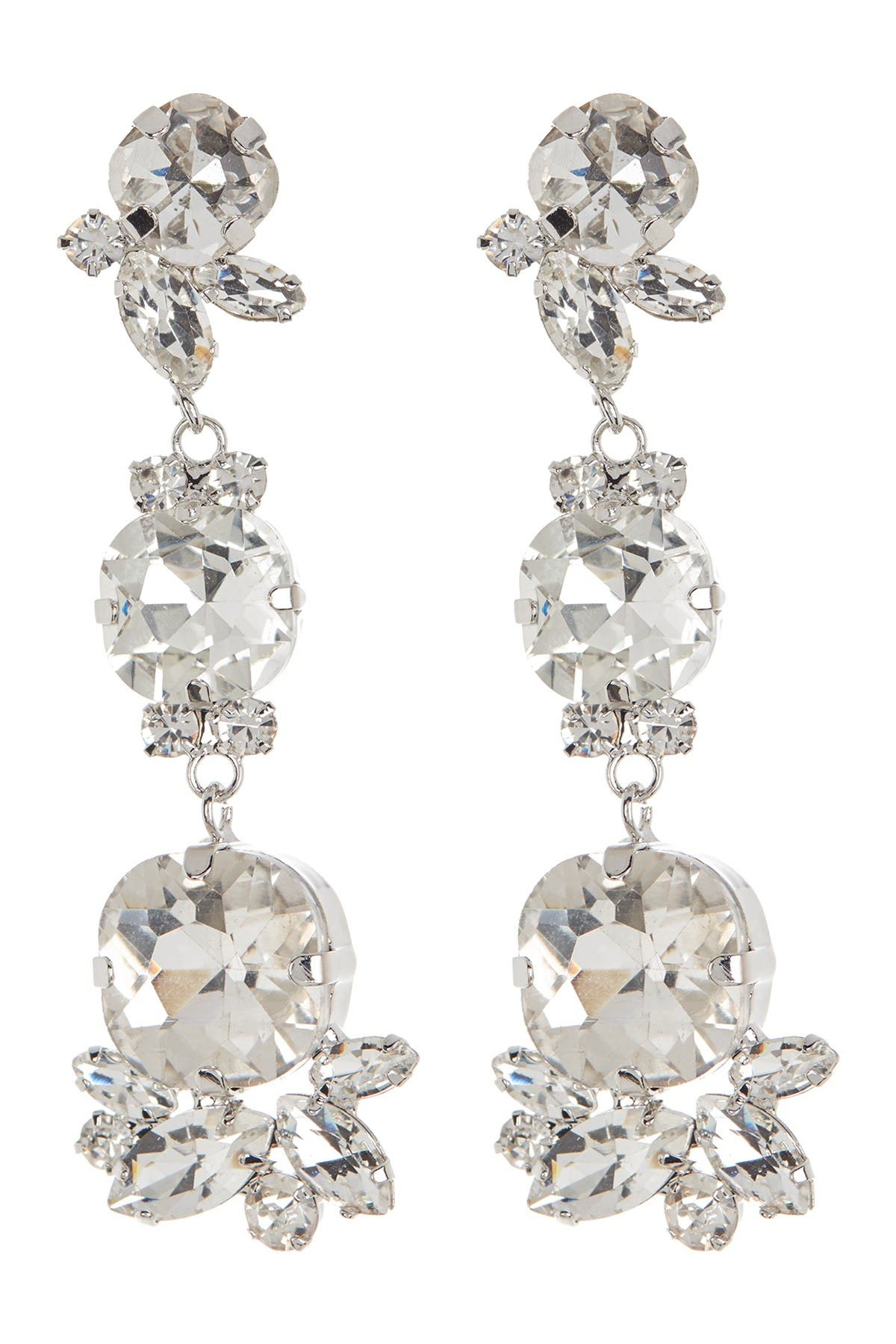 Image of CRISTABELLE Prong Set Crystal Linear Drop Earrings