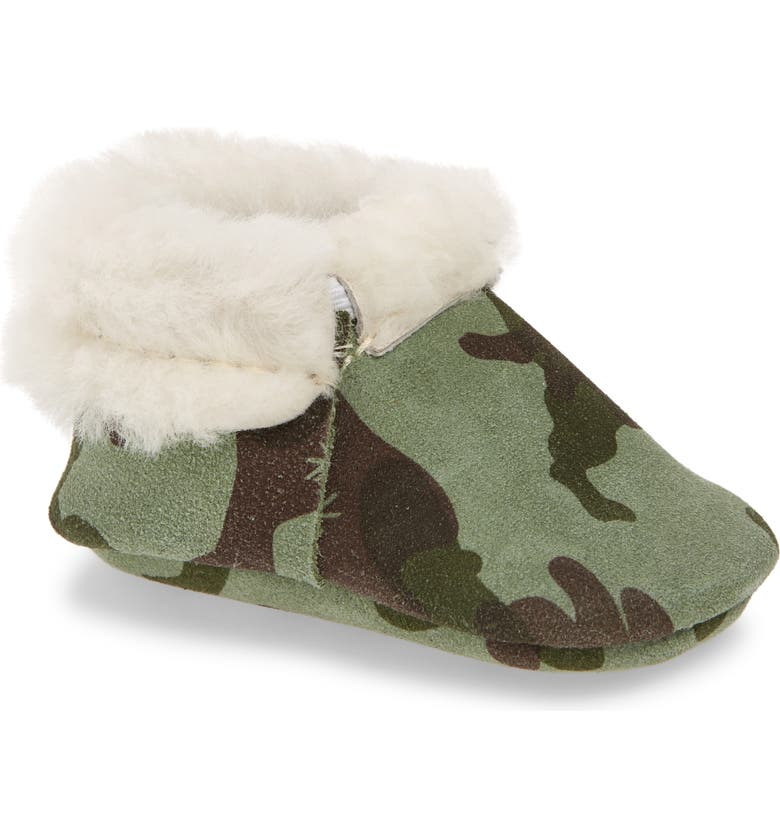 FRESHLY PICKED Camo Genuine Shearling Lined Moccasin, Main, color, GREEN CAMO SHEARLING