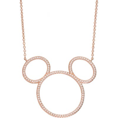 Disney Mickey Mouse Open Silhouette Rose Gold & Crystal Pendant Necklace