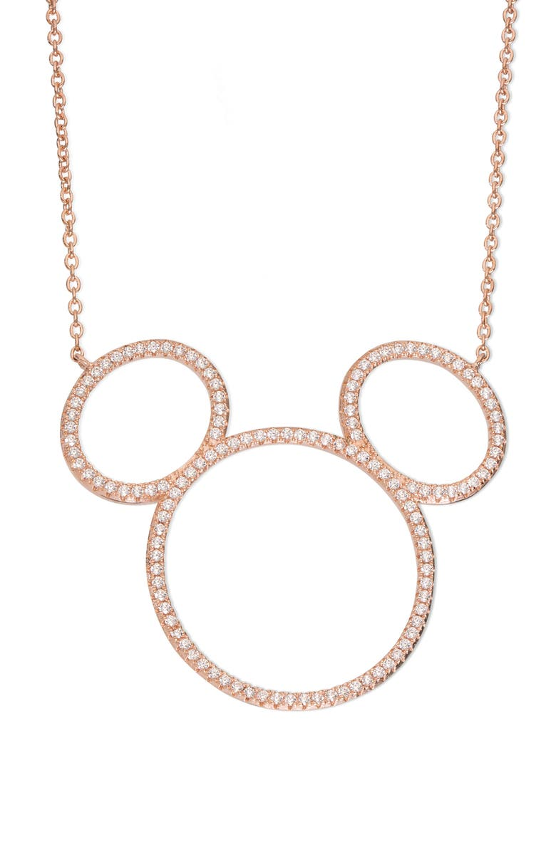 DISNEY Mickey Mouse Open Silhouette Rose Gold & Crystal Pendant Necklace, Main, color, 650