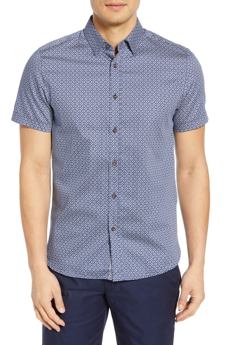 TED BAKER LONDON Gooslin Slim Fit Print Shirt, Main, color, NAVY